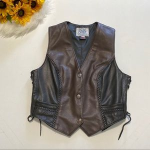 Fox Creek Leather Motorcycle Braided Vest Two Tone